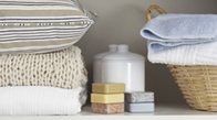 Organized soaps, pillows, and towels