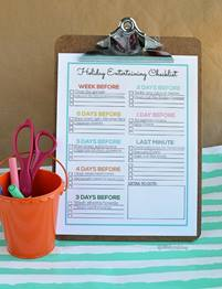Holiday Entertaining Checklist on a clipboard