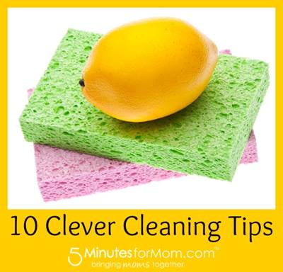 Lemon on top of two cleaning sponges - 10 Clever Cleaning Tips - 5MinutesforMom.com, bringing moms together