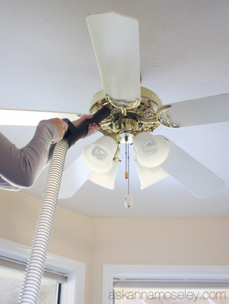 Vacuuming ceiling fan fixture