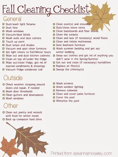 Fall Cleaning Checklist - General, Outside, Other