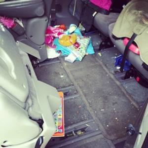 Kid mess in minivan