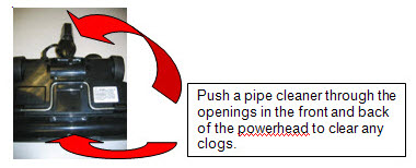 48K2 Powerhead - Push a pipe cleaner through the openings in the front and back of the powerhead to clear any clogs