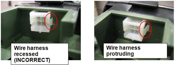 (1) Wire harness recessed (INCORRECT) (2) Wire harness protruding