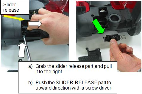 (1) Slider-release (2) a) Grab the slider-release part and pull it to the right, b) Push the slider-release part to upward direction with a screw driver
