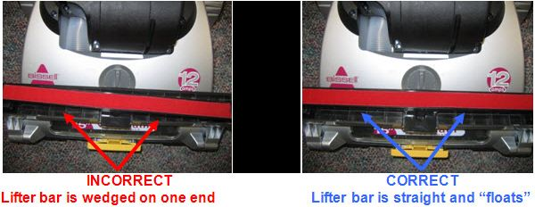 (1) INCORRECT: Lifter bar is wedged on one end (2) CORRECT: Lifter bar is straight and 'floats'