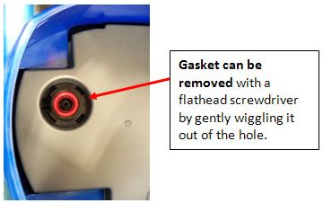 Gasket can be removed with a flathead screwdriver by gently wiggling it out of the hole