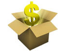 box with golden dollar sign emerging